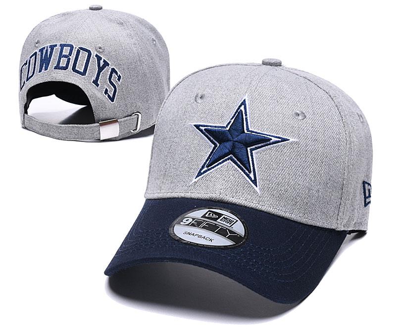 Cowboys Team Logo Gray Navy Peaked Adjustable Hat TX