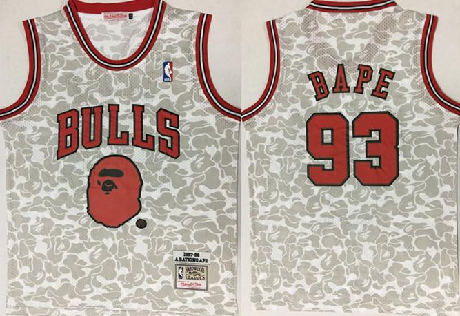 Bulls 93 Bape Gray 1997-98 Hardwood Classics Jersey