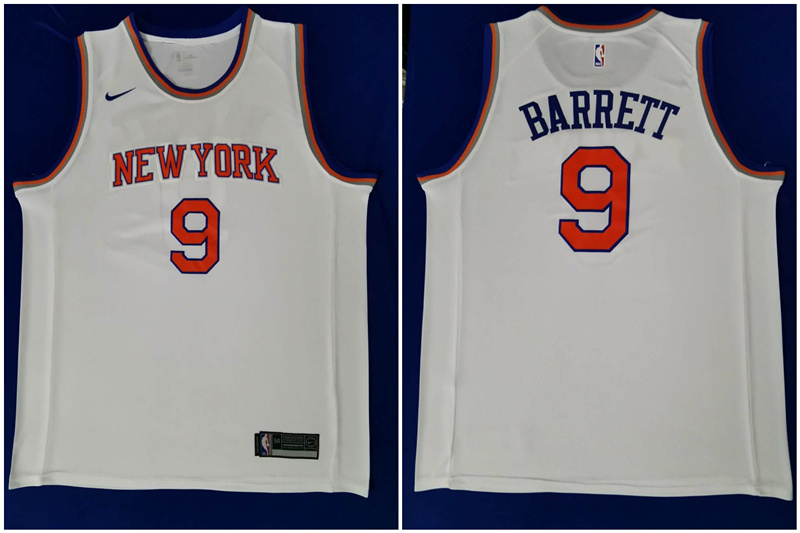 Knicks 9 R.J. Barrett White 2019 NBA Draft First Round Pick Nike Swingman Jersey