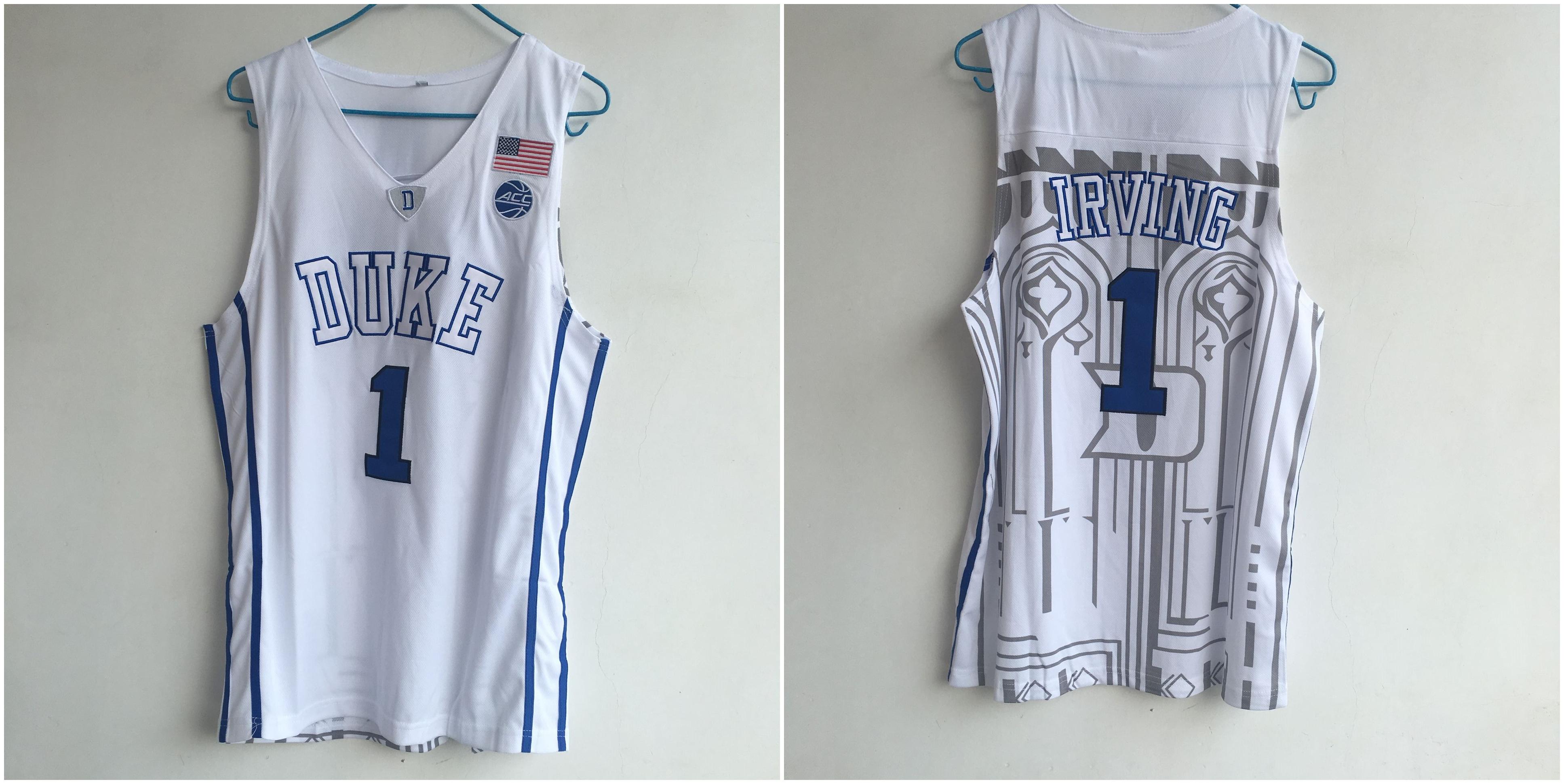 Duke Blue Devils 1 Kyrie Irving White College Basketball Jersey