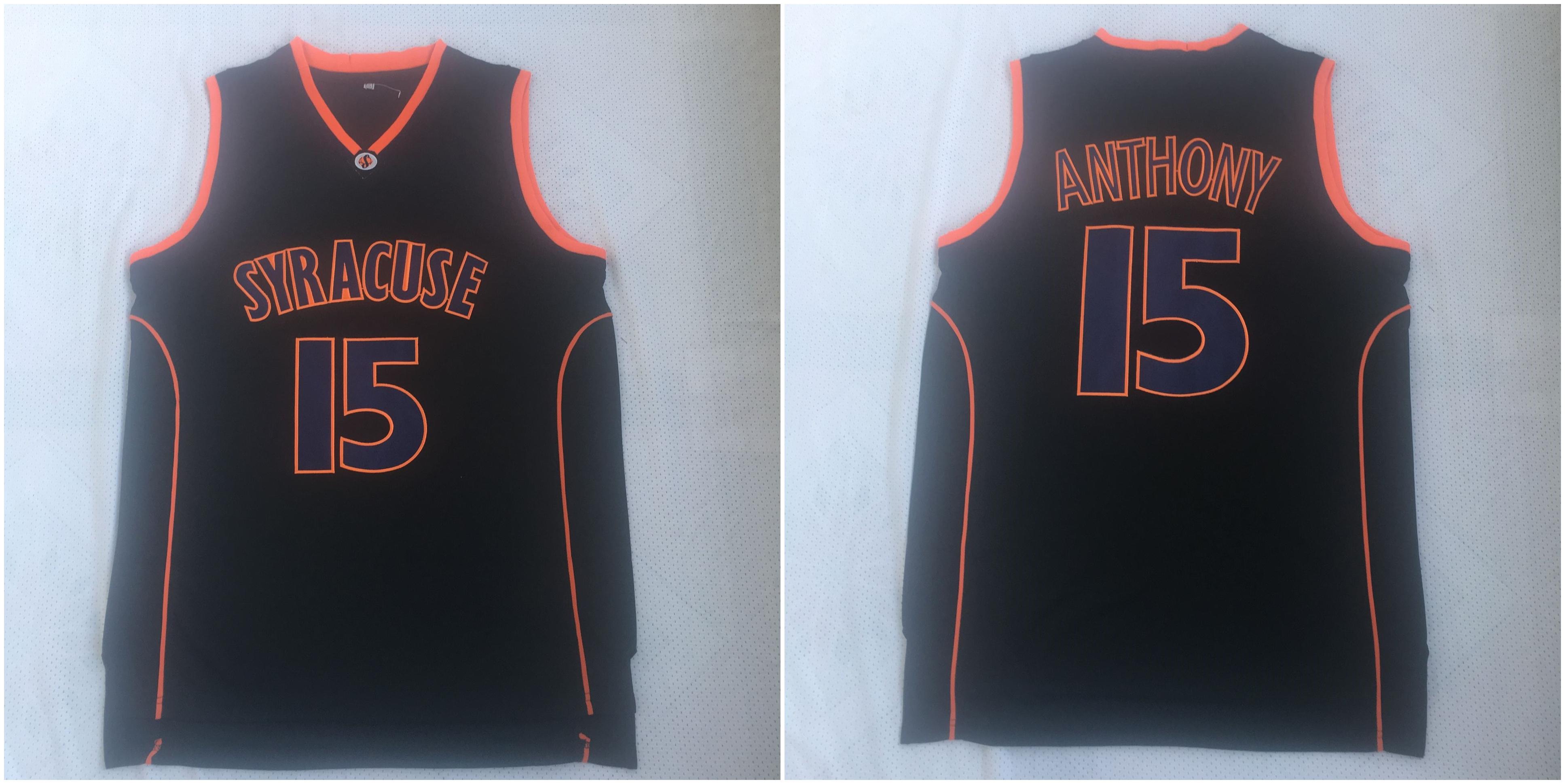 Syracuse University 15 Carmelo Anthony Black Basketball College Jersey