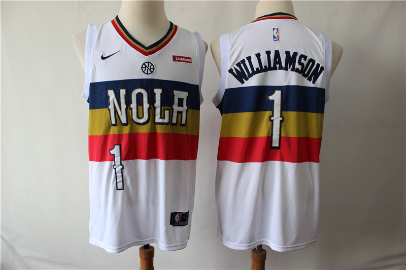 Pelicans 1 Zion Williamson White Earned Edition Nike Swingman Jersey