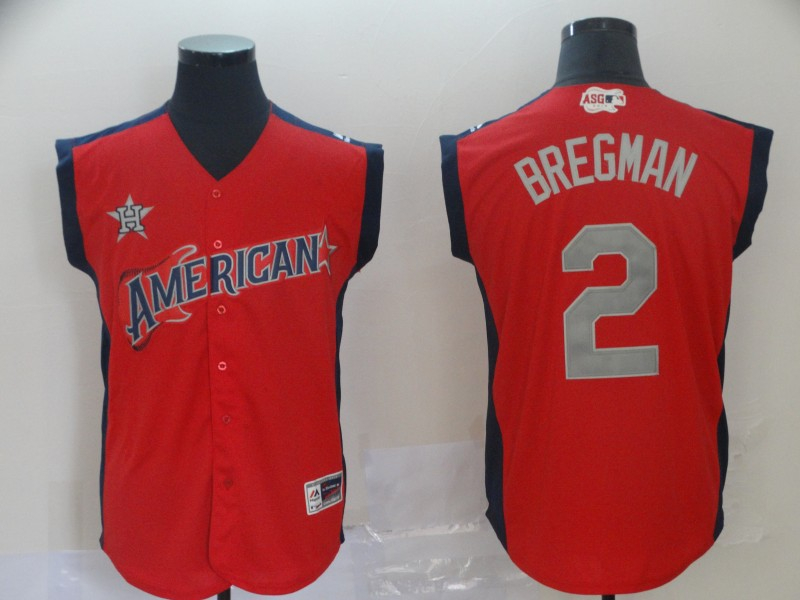 American League 2 Alex Bregman Red 2019 MLB All Star Game Workout Player Jersey