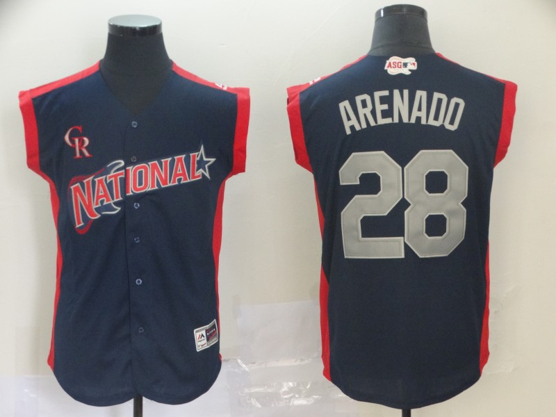 National League 28 Nolan Arenado Navy 2019 MLB All Star Game Workout Player Jersey