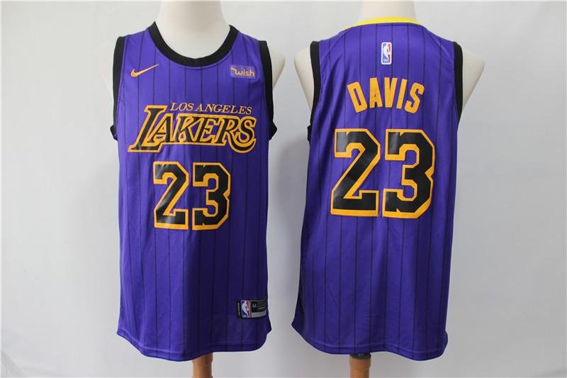 Lakers 23 Anthony Davis Purple City Edition Nike Swingman Jersey