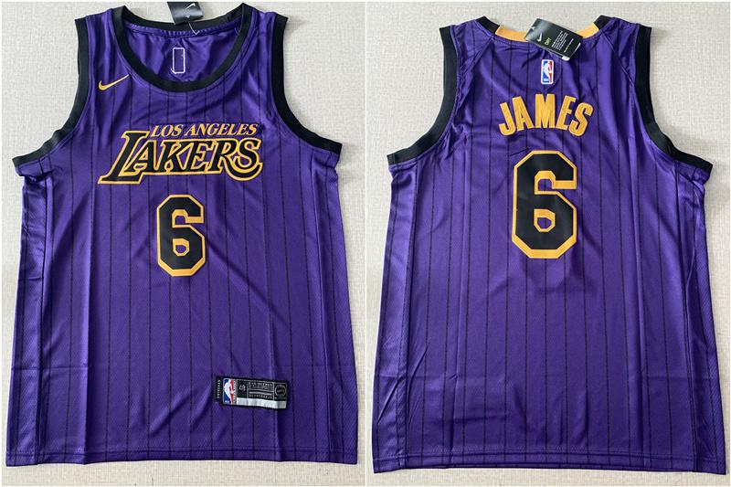 Lakers 6 Lebron James Purple City Edition Nike Swingman Jersey