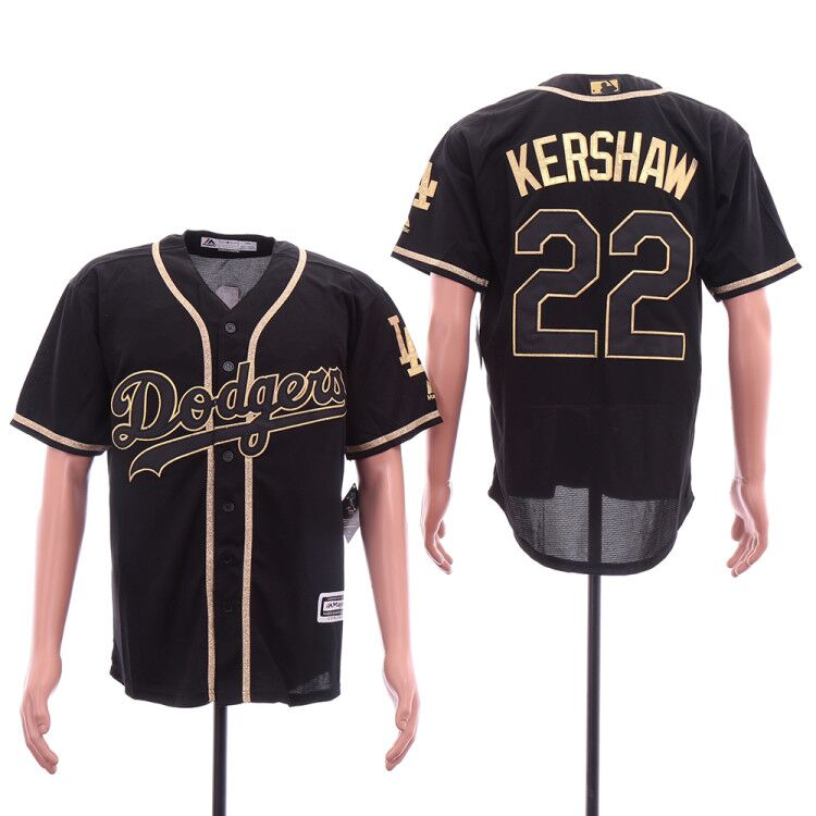 Dodgers 22 Clayton Kershaw Black Gold Cool Base Jersey