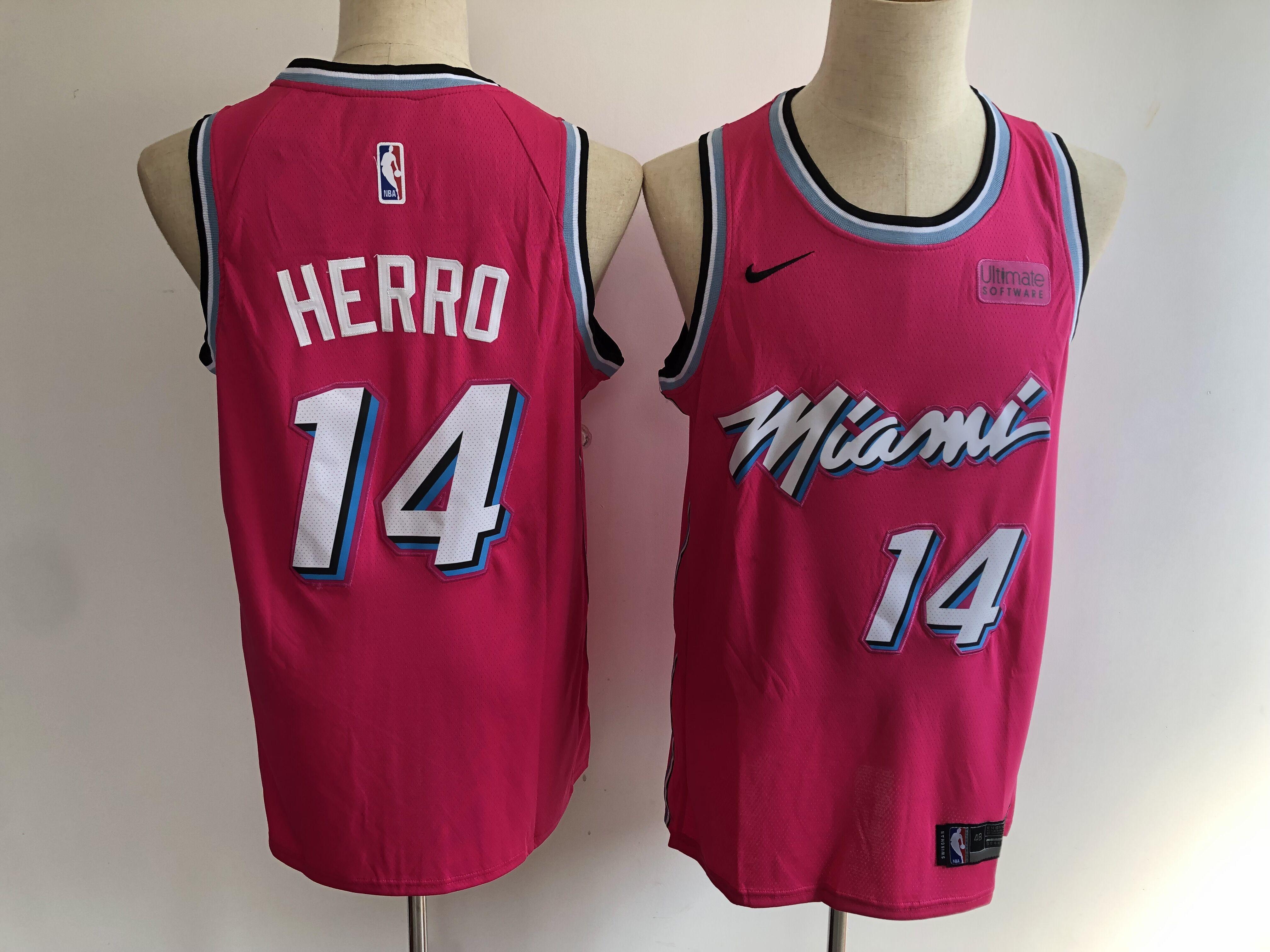 Heat 14 Tyler Herro Pink City Edition Nike Swingman Jersey