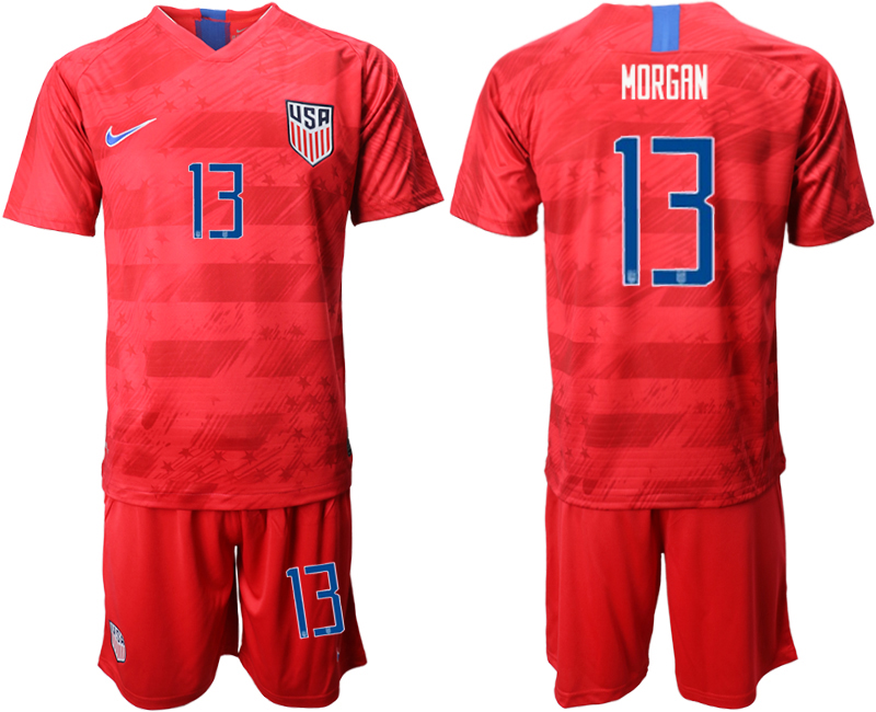 2019-20 USA 13 MORGAN Away Soccer Jersey