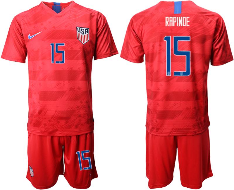 2019-20 USA 15 RAPINOE Away Soccer Jersey