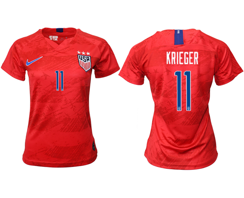 2019-20 USA 11 KRIEGER Away Women Soccer Jersey