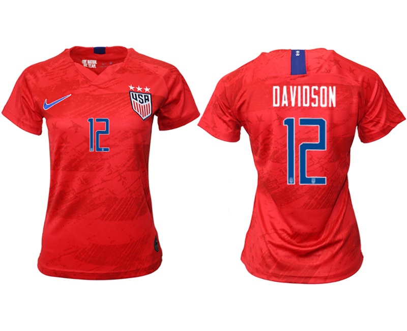 2019-20 USA 12 DAVIDSON Away Women Soccer Jersey