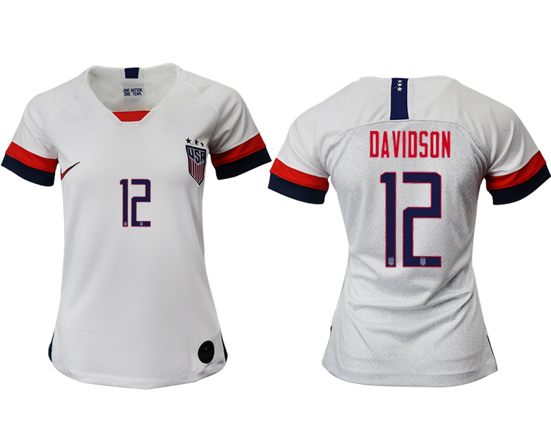 2019-20 USA 12 DAVIDSON Home Women Soccer Jersey