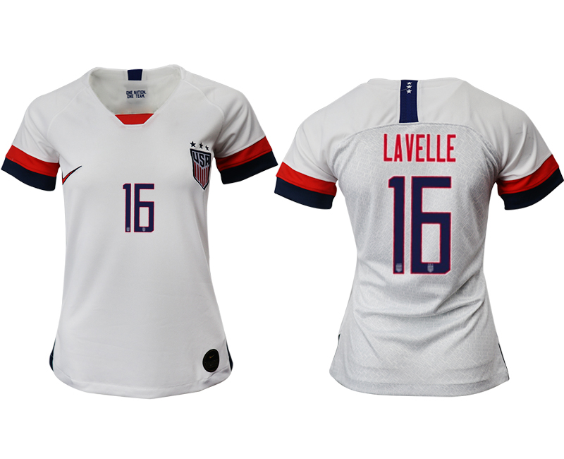 2019-20 USA 16 LAVELLE Home Women Soccer Jersey