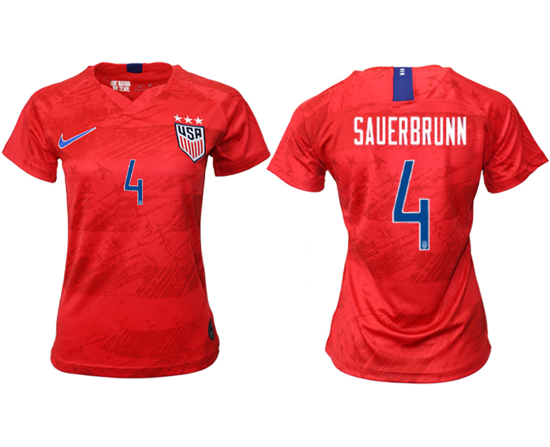 2019-20 USA 4 SAUERBRUNN Away Women Soccer Jersey