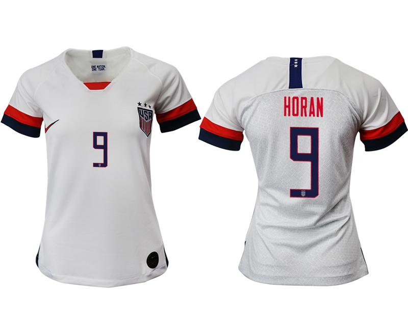 2019-20 USA 9 HORAN Home Women Soccer Jersey