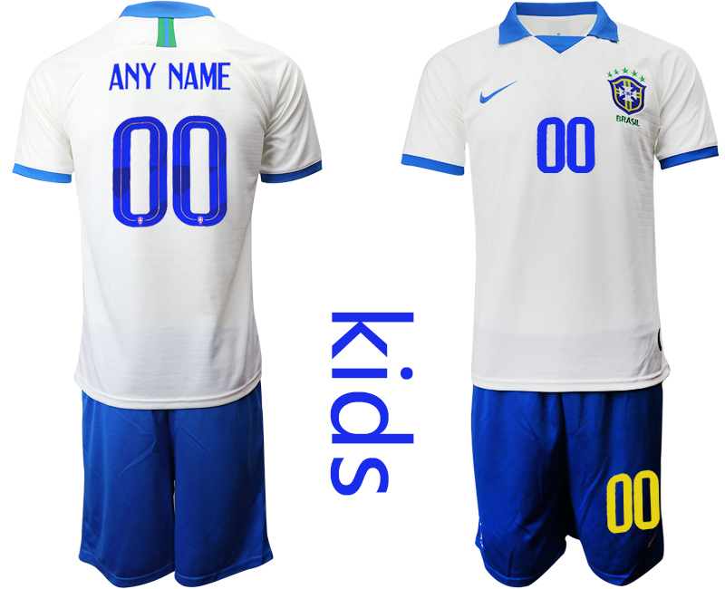 2019-20 Brazil Customized White Special Edition Youth Soccer Jersey