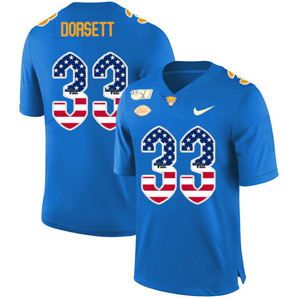 Pittsburgh Panthers 33 Tony Dorsett Blue USA Flag 150th Anniversary Patch Nike College Football Jersey