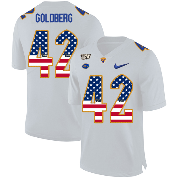 Pittsburgh Panthers 42 Marshall Goldberg White USA Flag 150th Anniversary Patch Nike College Football Jersey