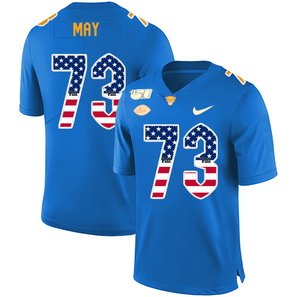 Pittsburgh Panthers 73 Mark May Blue USA Flag 150th Anniversary Patch Nike College Football Jersey