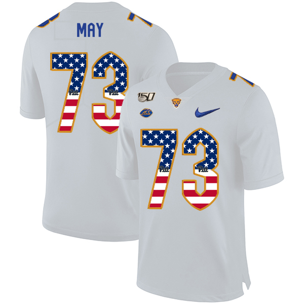 Pittsburgh Panthers 73 Mark May White USA Flag 150th Anniversary Patch Nike College Football Jersey