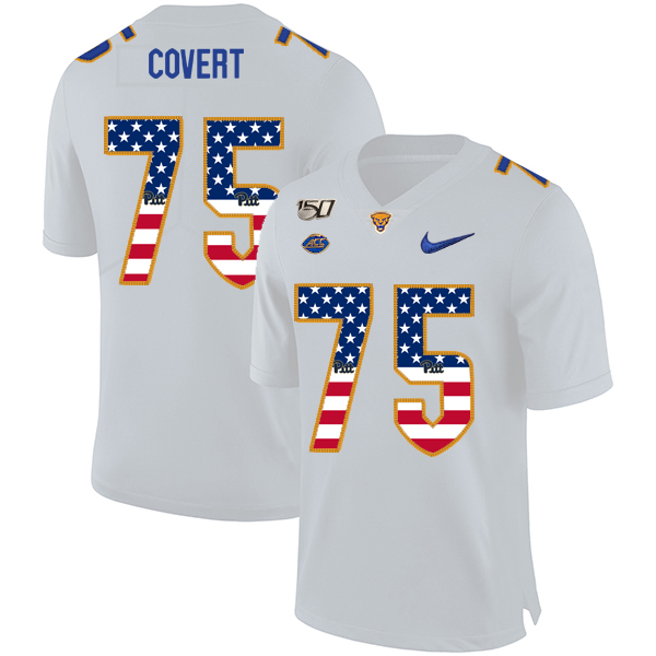 Pittsburgh Panthers 75 Jimbo Covert White USA Flag 150th Anniversary Patch Nike College Football Jersey