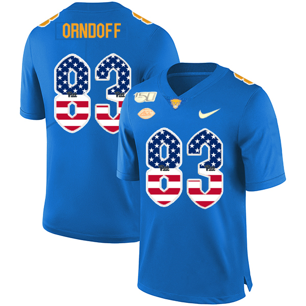 Pittsburgh Panthers 83 Scott Orndoff Blue USA Flag 150th Anniversary Patch Nike College Football Jersey