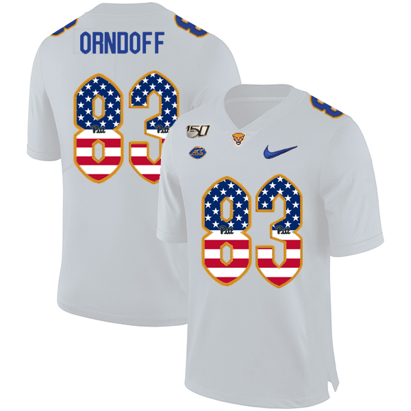 Pittsburgh Panthers 83 Scott Orndoff White USA Flag 150th Anniversary Patch Nike College Football Jersey