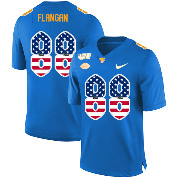 Pittsburgh Panthers 88 Matt Flanagan Blue USA Flag 150th Anniversary Patch Nike College Football Jersey