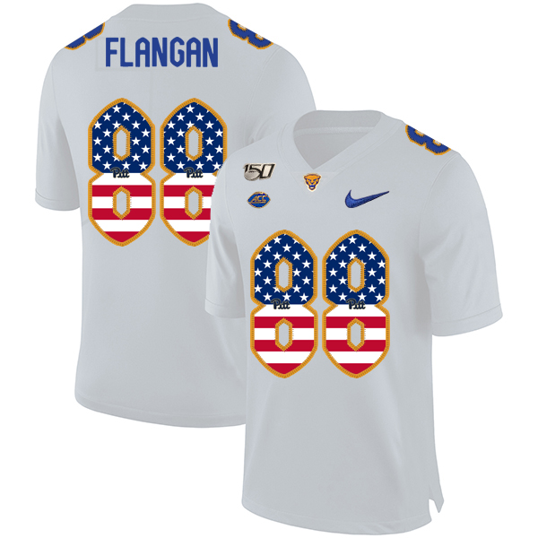 Pittsburgh Panthers 88 Matt Flanagan White USA Flag 150th Anniversary Patch Nike College Football Jersey