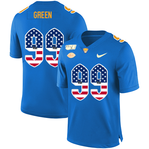Pittsburgh Panthers 99 Hugh Green Blue USA Flag 150th Anniversary Patch Nike College Football Jersey