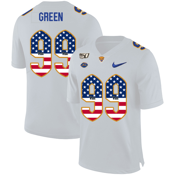 Pittsburgh Panthers 99 Hugh Green White USA Flag 150th Anniversary Patch Nike College Football Jersey