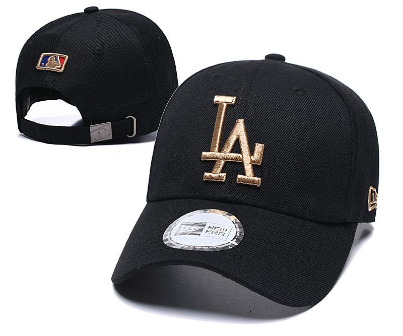 Dodgers Fresh Gold Logo Black Peaked Adjustable Hat TX