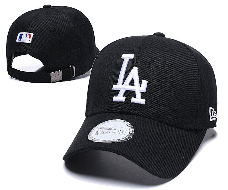 Dodgers Team White Logo Black Peaked Adjustable Hat TX