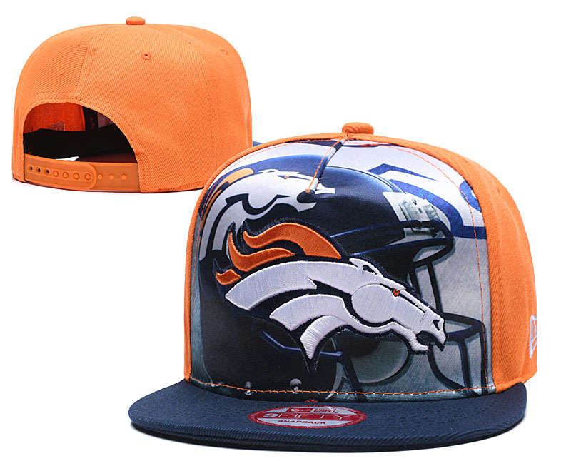 Broncos Team Logo Orange Navy Adjustable Leather Hat TX