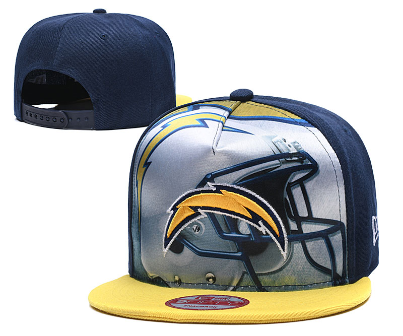 Chargers Team Logo Navy Yellow Adjustable Leather Hat TX