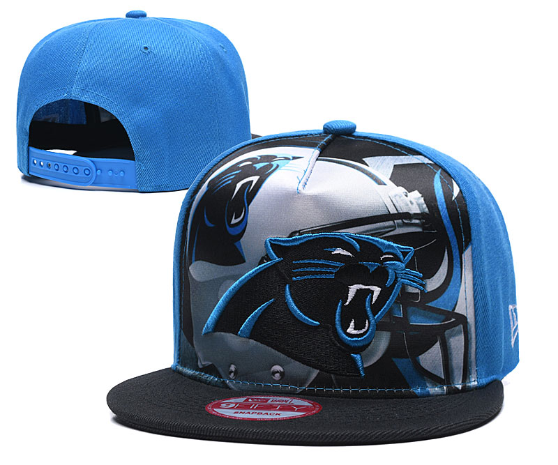 Panthers Team Logo Blue Black Adjustable Leather Hat TX