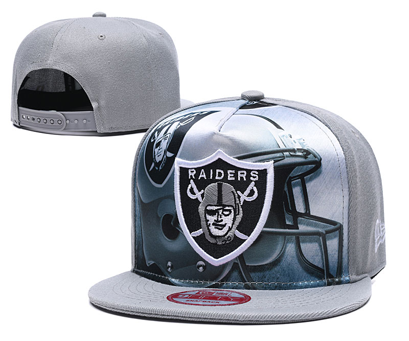 Raiders Team Logo Gray Adjustable Leather Hat TX