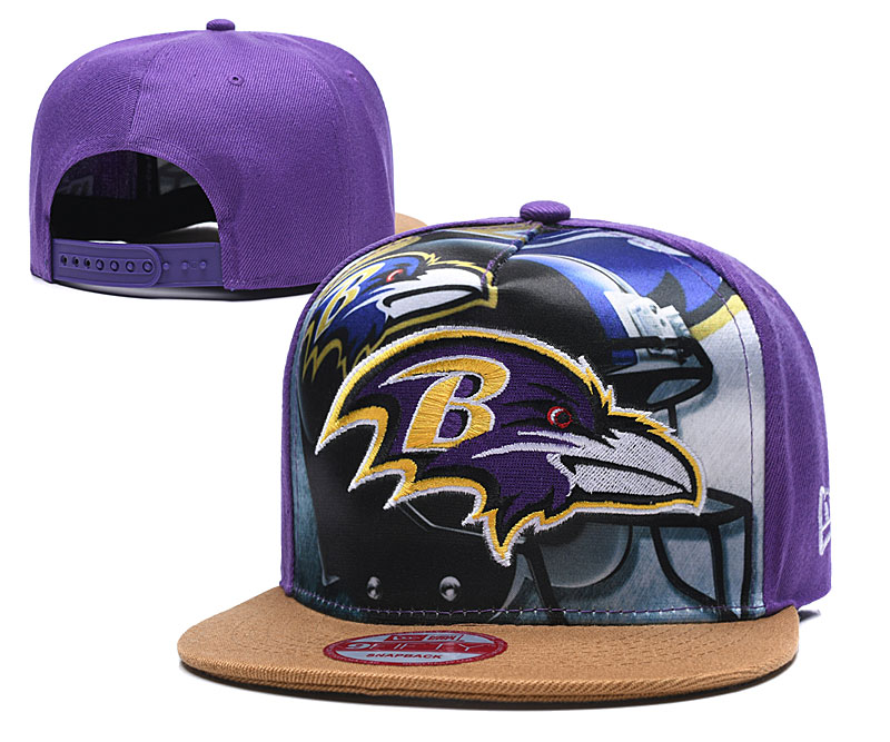 Ravens Team Logo Purple Adjustable Leather Hat TX