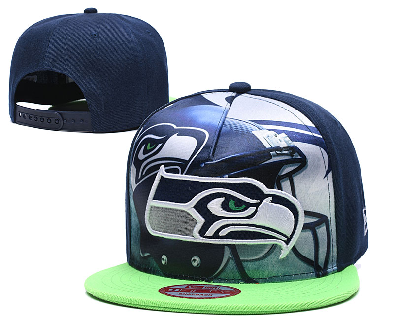 Seahawks Team Logo Navy Adjustable Leather Hat TX