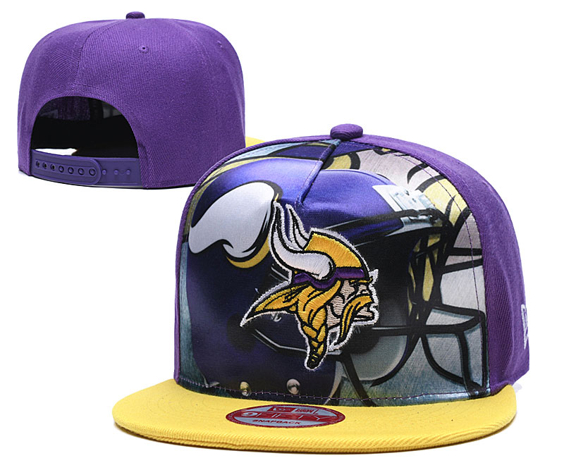 Vikings Team Logo Purple Yellow Adjustable Leather Hat TX