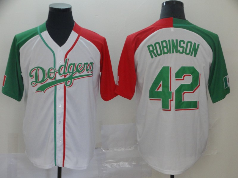Dodgers 42 Jackie Robinson White Mexican Heritage Culture Night Jersey Mexico