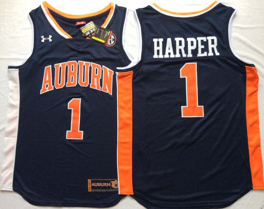 Auburn Tigers 1 Jared Harper Navy College Basketball Jersey