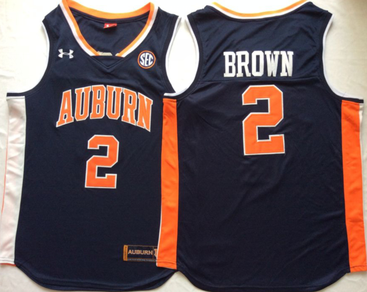 Auburn Tigers 2 Bryce Brown Navy College Basketball Jersey