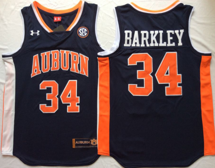 Auburn Tigers 34 Charles Barkley Navy College Basketball Jersey