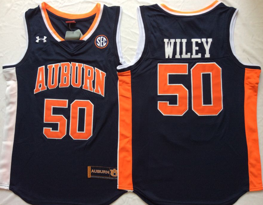 Auburn Tigers 50 Austin Wiley Navy College Basketball Jersey