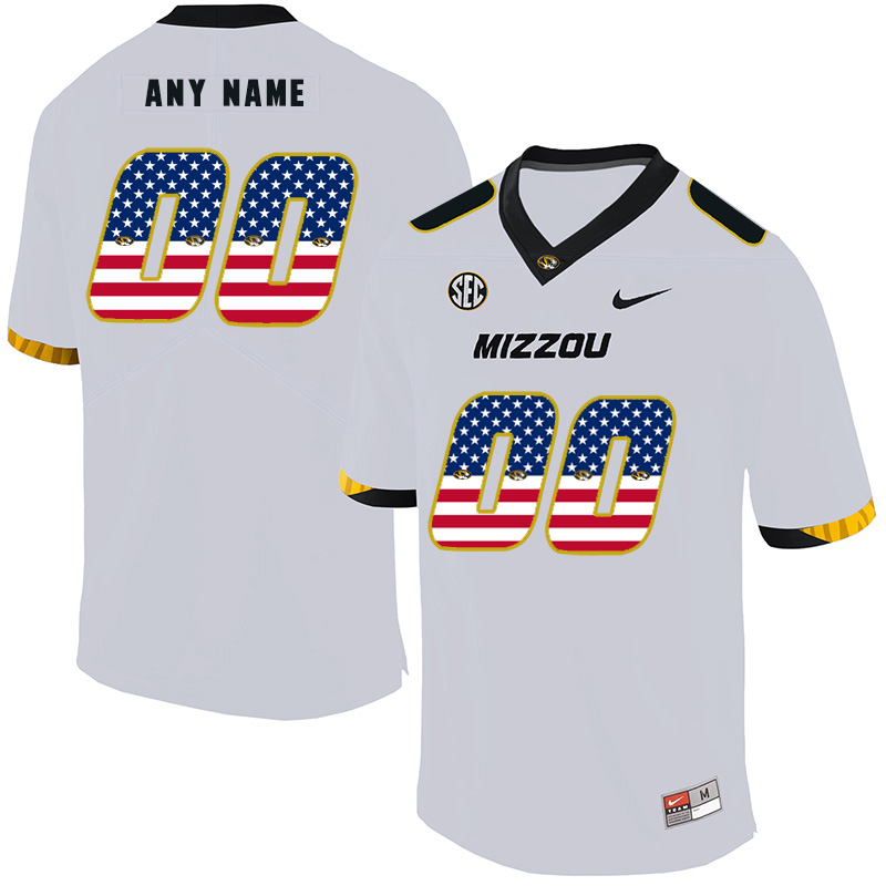Missouri Tigers Customized White USA Flag Nike College Football Jersey