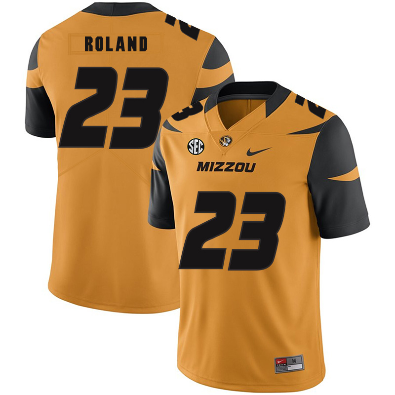 Missouri Tigers 23 Johnny Roland Gold Nike College Football Jersey