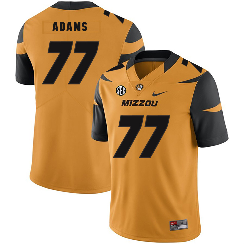 Missouri Tigers 77 Paul Adams Gold Nike College Football Jersey