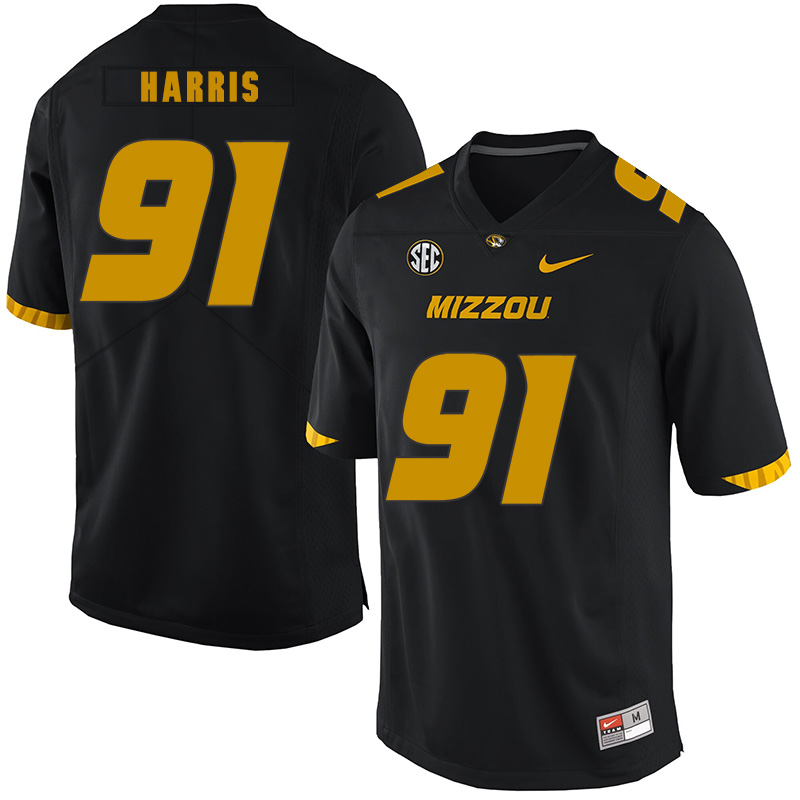 Missouri Tigers 91 Charles Harris Black Nike College Football Jersey